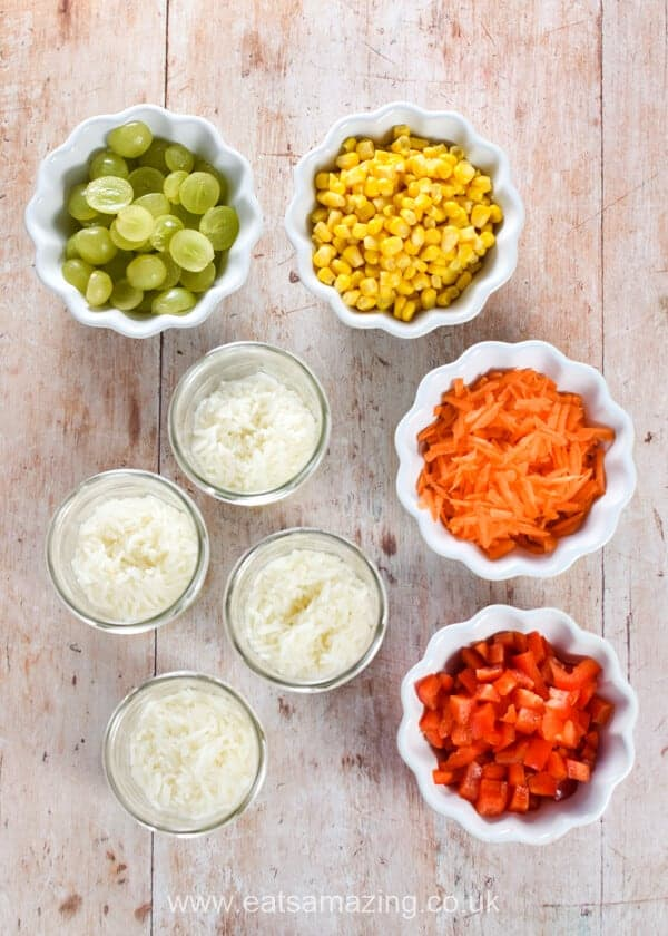 Homemade Rainbow Rice Jars Recipe - Step 4 prepare a selection of rainbow vegetables for your salad jars