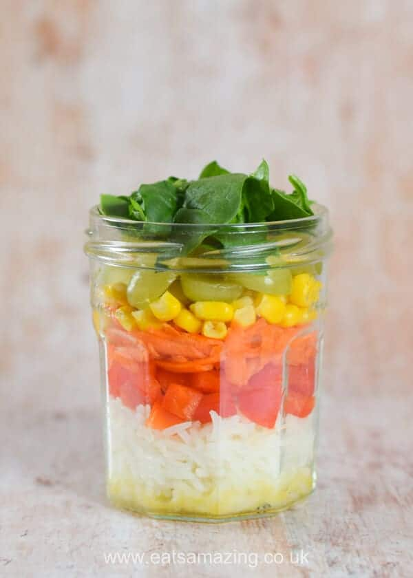 Homemade Rainbow Rice Jars Recipe - Step 5 - layer rice and rainbow veggies in a large jar