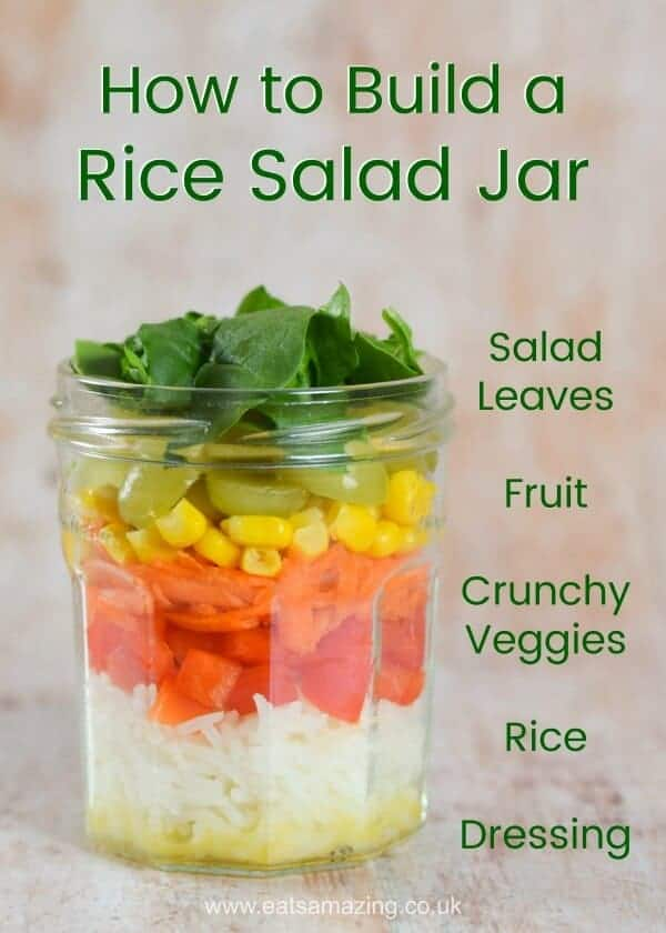 How to build a rice salad in a jar - easy healthy work lunch idea from Eats Amazing UK