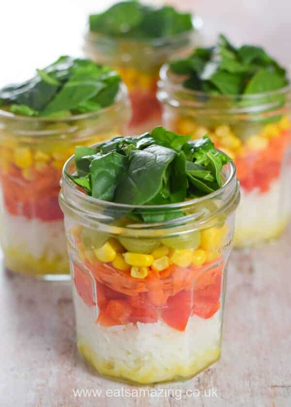 How to make an easy rainbow vegetable rice salad in a jar - fun lunch recipe from Eats Amazing UK