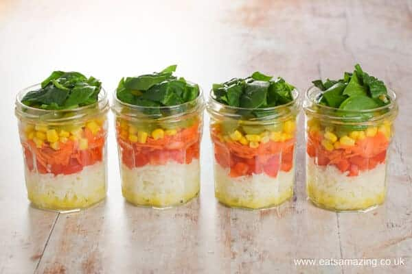 How to make easy rainbow vegetable rice salad in jars - fun prep ahead lunch recipe from Eats Amazing UK