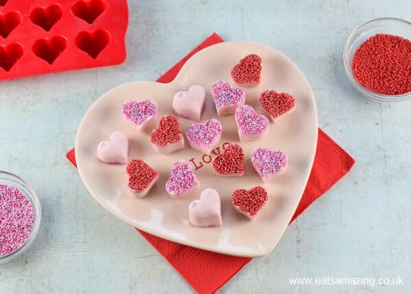 How to make frozen yogurt hearts - fun and easy snack for kids on Valentines Day - Eats Amazing UK