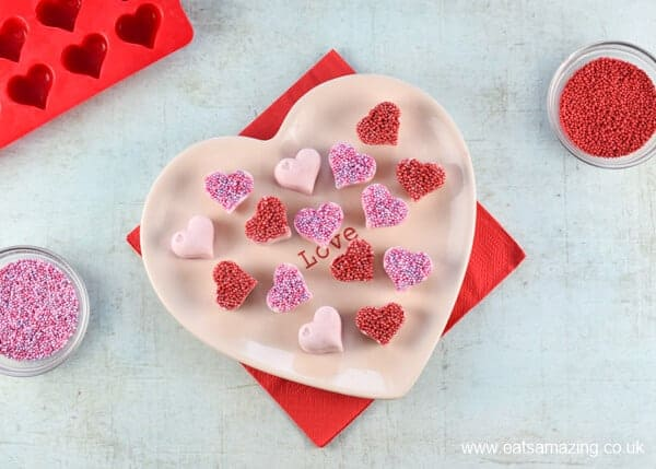 How to make frozen yogurt hearts - fun and easy snack recipe for Valentines Day - Eats Amazing UK