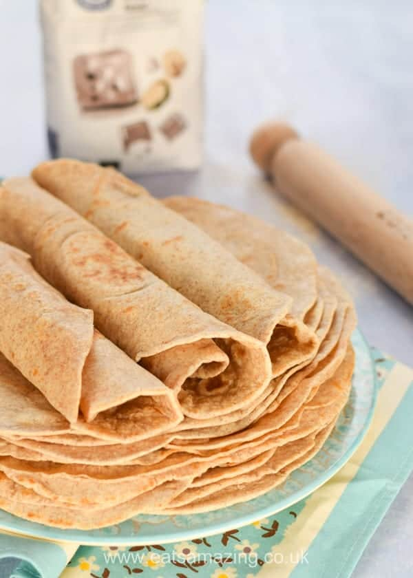 How to make healthy tortilla wraps - easy recipe with coconut oil and wholemeal flour - Eats Amazing UK