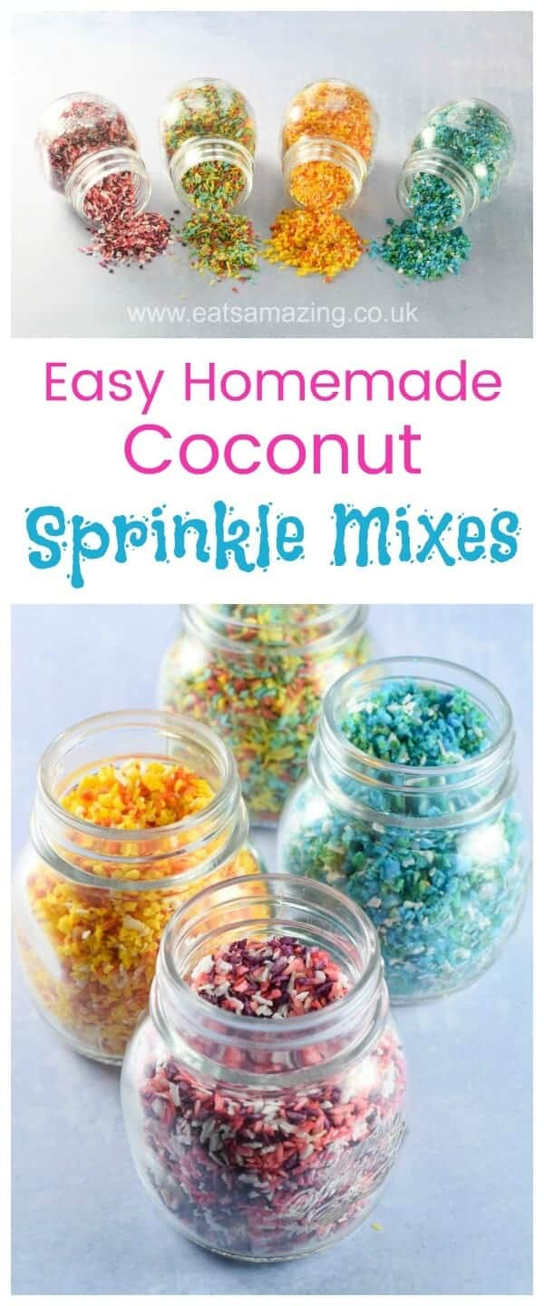 How to make homemade coconut sprinkle mixes for cake decorating and fun food - with 5 fun colour mix ideas - sugar free healthy sprinkles for kids - Eats Amazing #sprinkles #funfood #foodart #edibleart #cakedecorating #cookingwithkids #rainbowfood #partyfood #kidsfood #healthykids #rainbow #coconut