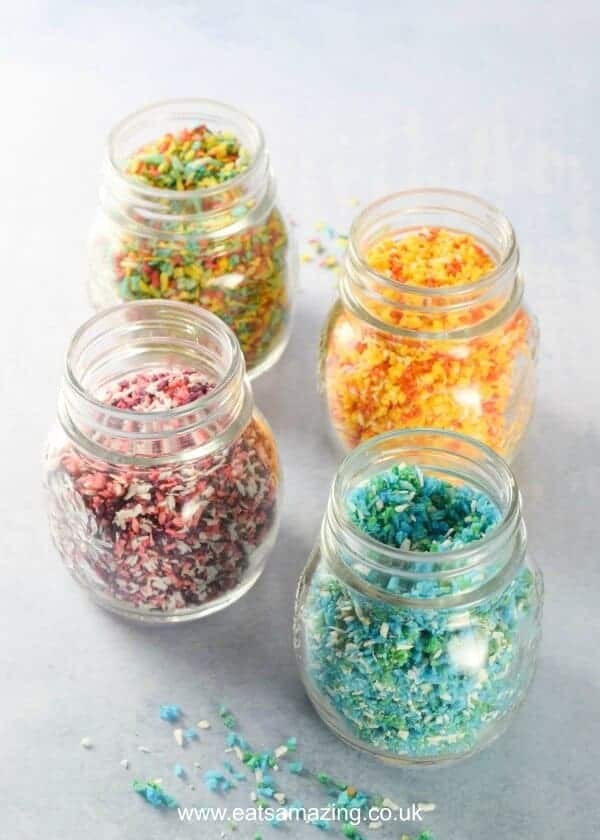 How to make homemade coconut sprinkle mixes for cake decorating and fun food - with 5 fun colour mixes - sugar free healthy sprinkles - Eats Amazing