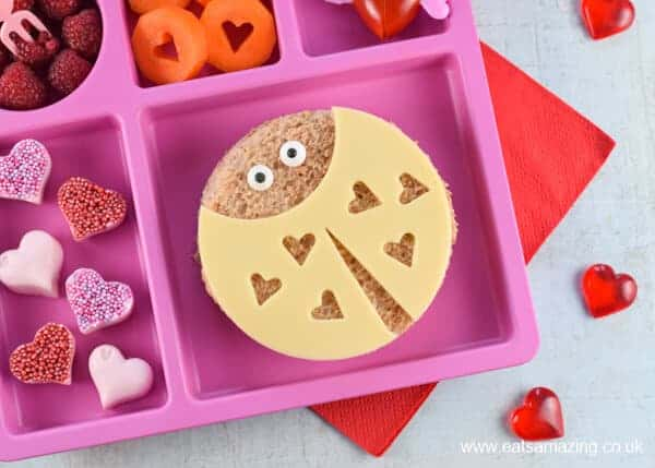 How to make love bug sandwiches fun food tutorial with step by step photos - cute Valentines Day food for kids from Eats Amazing UK
