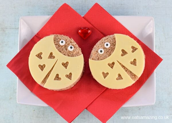 How to make love bug sandwiches fun food tutorial with step by step photos - cute kids food for Valentines Day from Eats Amazing UK