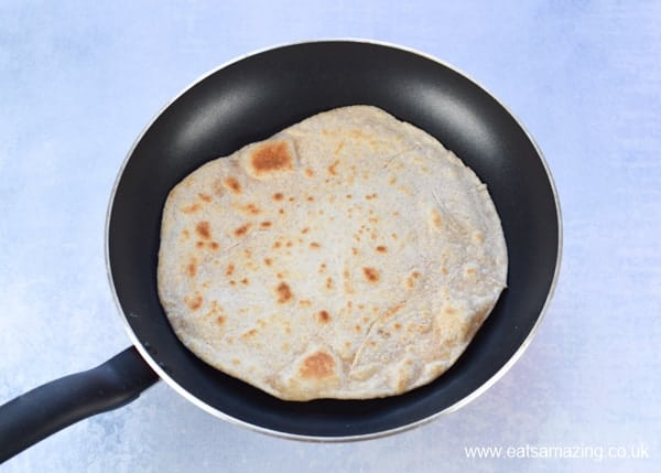 How to make tortilla wraps step 7 - turned wrap in frying pan