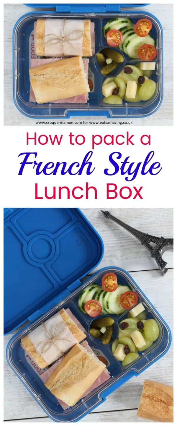 How to pack a french style lunch box for kids #bento #frenchfood #kidsfood #lunchideas #lunch #lunchbox #healthykids #yumbox #yumboxlunch #sandwich #baguette