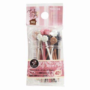 Long Flower Fork Food Picks Set of 40 with Case - Pink - Eats Amazing Bento Shop
