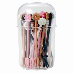 Long Flower Fork Food Picks Set of 40 with Case - Pink - Eats Amazing Shop
