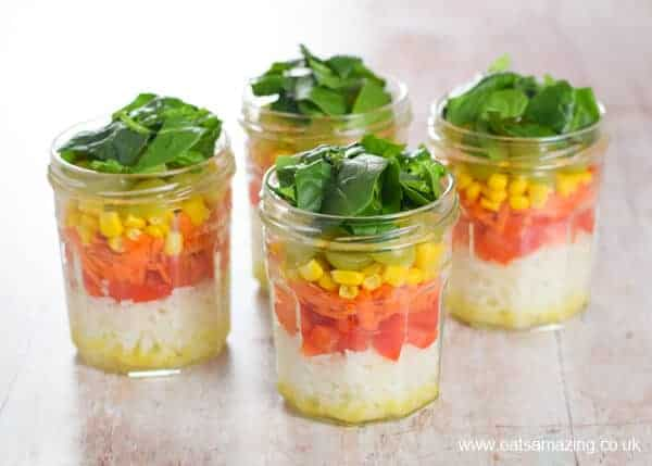 Prep ahead rainbow rice salad jars recipe from Eats Amazing UK - great work lunch idea