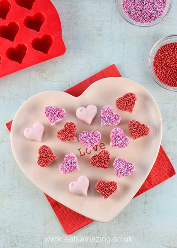 Quick and Easy Frozen Yogurt Hearts recipe - fun Valentines Day snack for kids - Eats Amazing UK