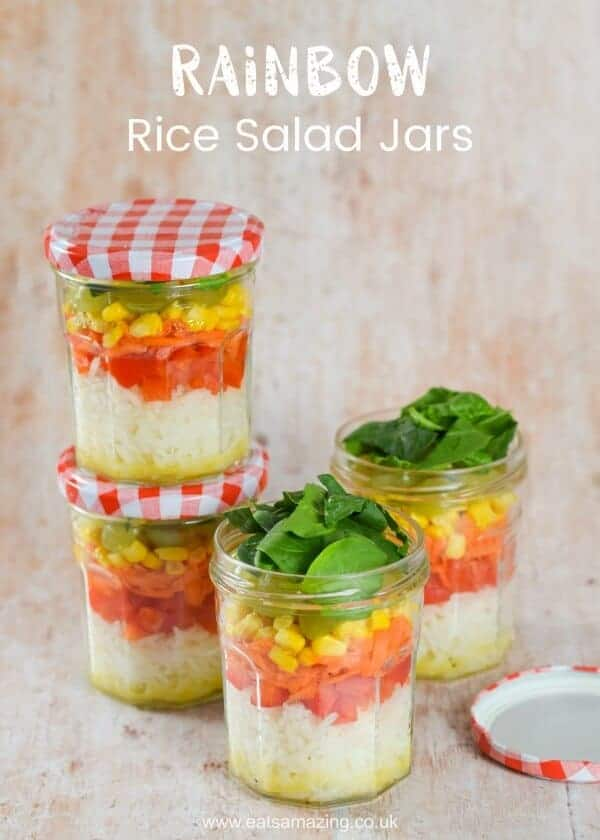 Rainbow Rice Salad Jars Recipe with simple homemade salad dressing - fun and healthy lunch idea from Eats Amazing UK