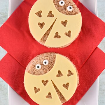 Super cute love bug sandwiches tutorial with step by step photos - fun kids food for Valentines Day from Eats Amazing UK