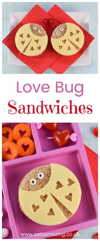 Super cute love bug sandwiches tutorial with step by step photos - perfect Valentines Day fun food for kids - Eats Amazing UK