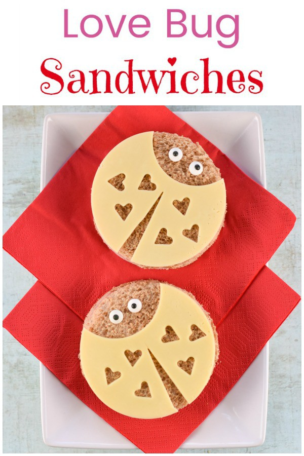 Super cute love bug sandwiches tutorial with step by step photos - perfect Valentines Day fun food for kids #EatsAmazing #ValentinesDay #Valentines #FunFood #KidsFood #sandwiches #FoodArt #lunchideas #partyfood #ladybug #ladybird