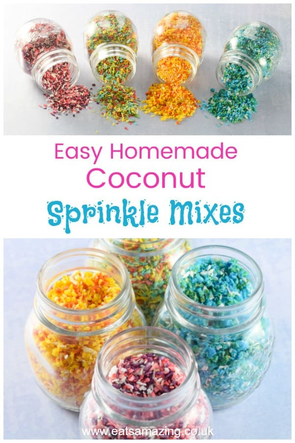 Super easy DIY coconut sprinkle mixes for cake decorating and fun food - with 5 fun colour mix ideas they make great sugar free healthy sprinkles for kids #sprinkles #funfood #foodart #edibleart #cakedecorating #cookingwithkids #rainbowfood #partyfood #kidsfood #healthykids #rainbow #coconut