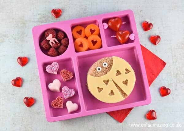 Valentines Day lunch for kids with fun and easy Love Bug sandwiches - including video tutorial for making all the fun food ideas - Eats Amazing UK