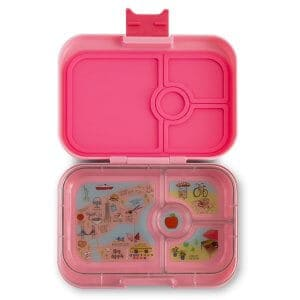 Yumbox Panino Bento Box for Kids UK - Gramercy Pink - open with tray view