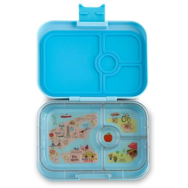 Yumbox Panino Bento Box for Kids UK - Liberty Blue - open with tray view