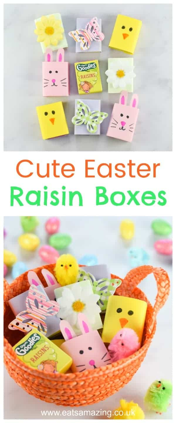 Cute and easy Easter raisin boxes - fun and healthy Easter snack for kids - great for Easter baskets and egg hunts - with video tutorial - Eats Amazing UK #easter #eastercrafts #easterbasket #healthykids #kidsfood #easterbunny #kidscraft #kidsactivities #foodart #funfood #cutefood #edibleart #ediblecraft #egghunt #partyfood #foodforkids