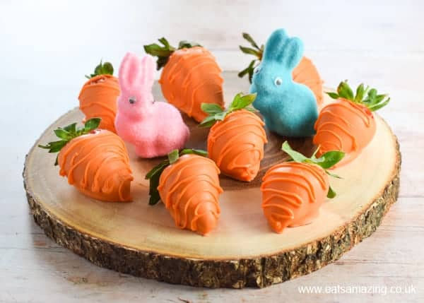 Cute and easy carrot Strawberries for Easter - fun food for kids from Eats Amazing UK