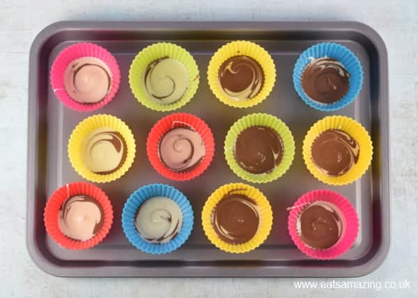 Easy Easter Giant Chocolate Buttons Recipe - Step 2 swirl the chocolate together with a cocktail stick