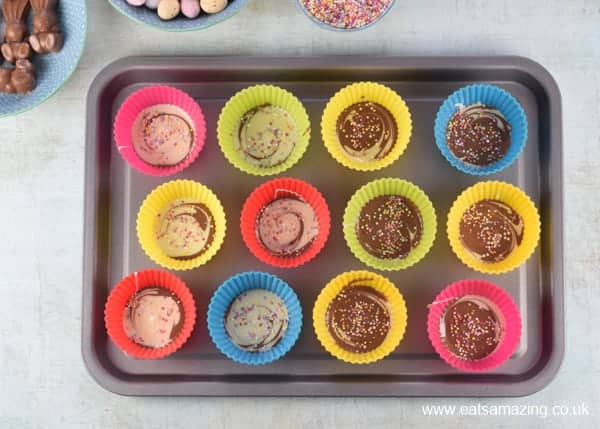 Easy Easter Giant Chocolate Buttons Recipe - Step 3 add sprinkles