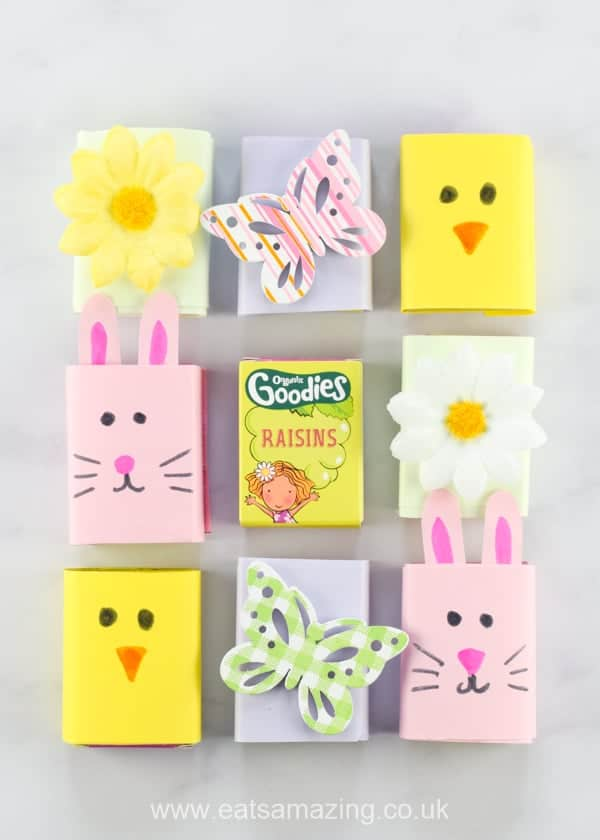 Easy Easter raisin boxes - healthy Easter food idea for kids - great for Easter baskets and egg hunts - Eats Amazing UK