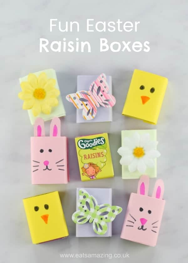 Fun and easy Easter raisin boxes - healthy Easter food for kids - great for Easter baskets and egg hunts - Eats Amazing UK