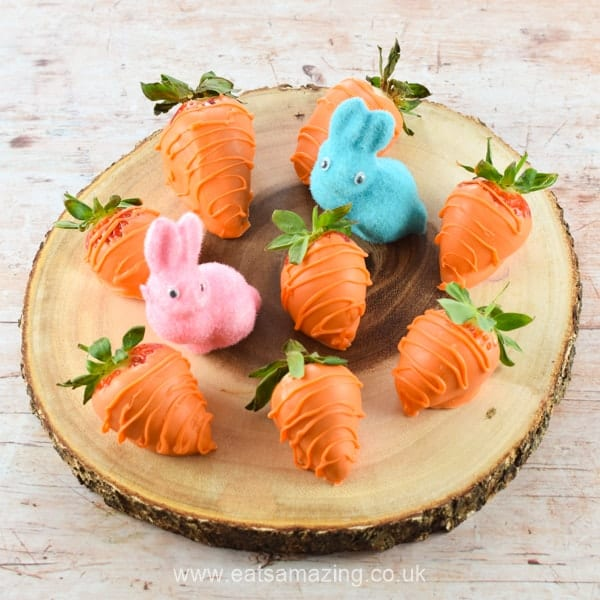 How to make Carrot Strawberries for Easter - fun food for kids from Eats Amazing