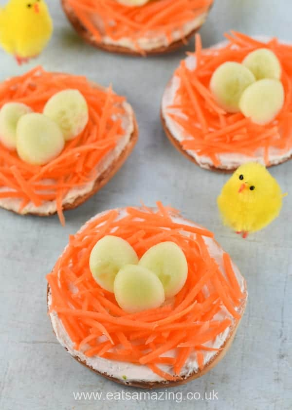 How to make Easter nest bagels - healthy fun food idea for kids this Easter - Eats Amazing UK