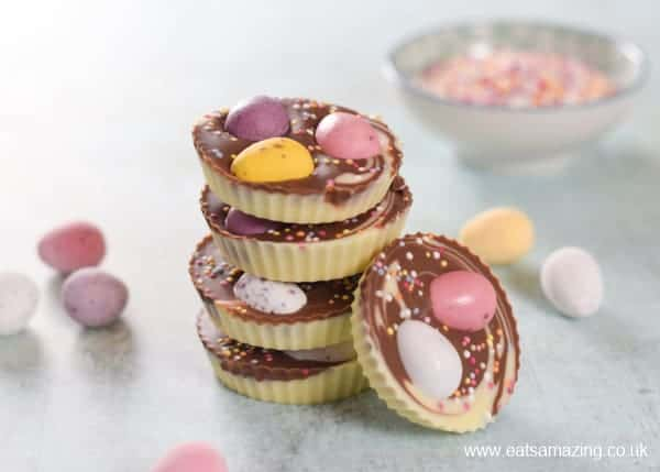 How to make Easter themed giant chocolate buttons - fun recipe for kids to make for homemade Easter gifts - Eats Amazing UK