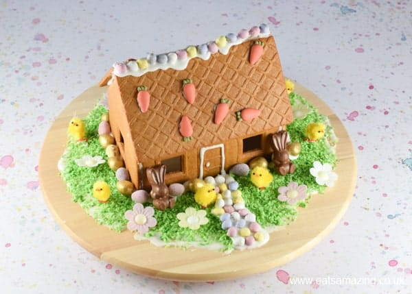 How to make an Easter gingerbread house - fun Easter decorating project for kids from Eats Amazing UK