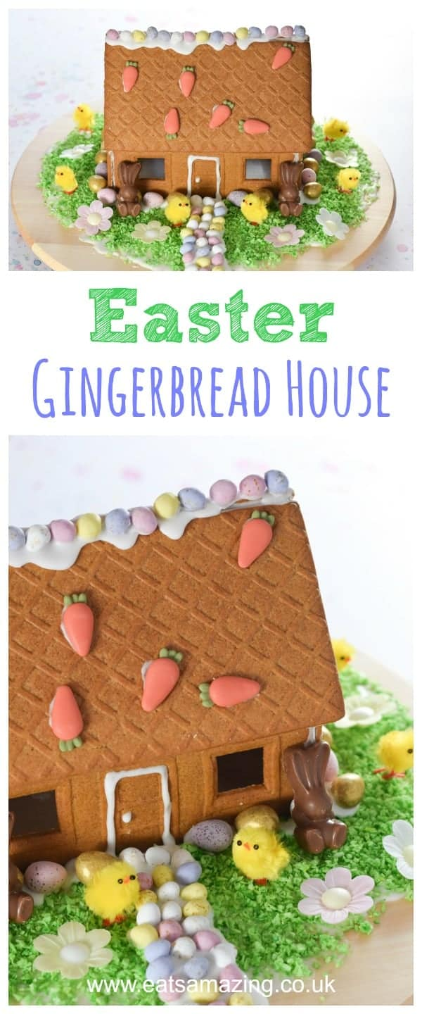 How to make an Easter gingerbread house - fun and easy Easter project for kids - Eats Amazing UK #easter #foodart #easterfood #gingerbreadhouse #gingerbread #eastercrafts #funfood #kidsfood #foodforkids #dessert #minieggs #easterrecipe #edibleart ediblecraft #cookiedecorating #kidsactivities