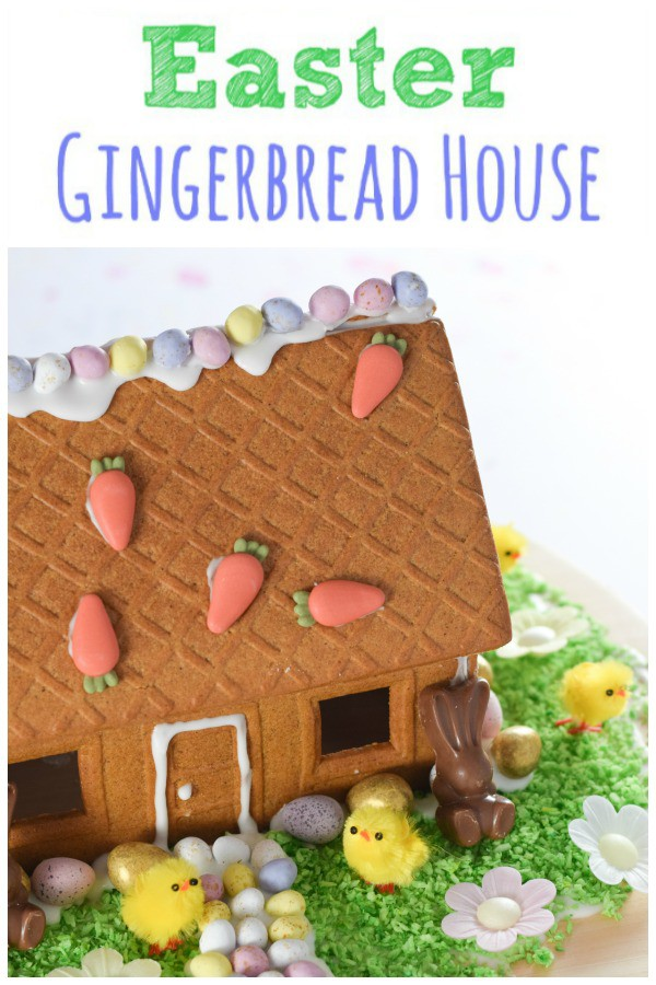 How to make an Easter gingerbread house - save a gingerbread house kit from Christmas for this fun and easy Easter project for kids #EatsAmazing #easter #foodart #easterfood #gingerbreadhouse #gingerbread #eastercrafts #funfood #kidsfood #foodforkids #dessert #minieggs #easterrecipe #edibleart ediblecraft #cookiedecorating #kidsactivities