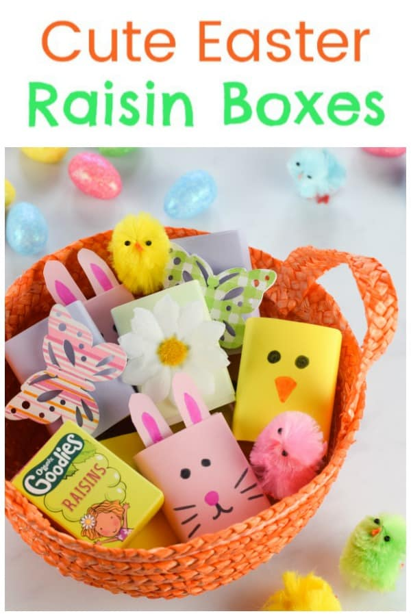 How to make cute Easter raisin boxes - fun edible craft for kids that is perfect for egg hunts Easter baskets and healthy Easter snacks #EatsAmazing #easter #eastercrafts #easterbasket #healthykids #kidsfood #easterbunny #kidscraft #kidsactivities #foodart #funfood #cutefood #edibleart #ediblecraft #egghunt #partyfood #foodforkids