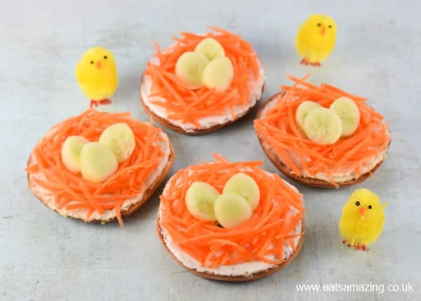How to make fun and healthy Easter nest bagels - fun Easter lunch idea for kids from Eats Amazing UK