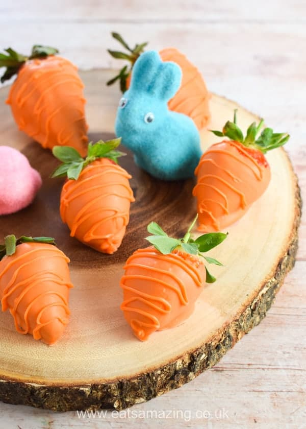 How to make strawberry carrots - fun food for kids this Easter from Eats Amazing UK
