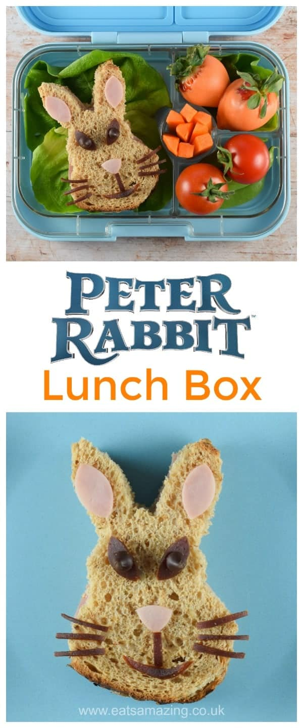 Peter Rabbit Themed Lunch Box with Peter Rabbit Sandwich - fun food for kids from Eats Amazing #bento #bentoboxideas #bentobox #peterrabbit #PeterRabbitMovie #funfood #kidsfood #foodart #cutefood #edibleart #sandwichart #healthykids #lunchbox #packedlunch #Easter #easterfood