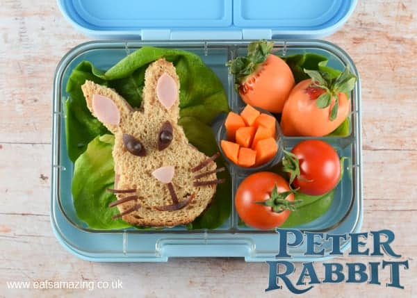 Peter Rabbit themed bento box lunch for kids in the Yumbox - Eats Amazing UK