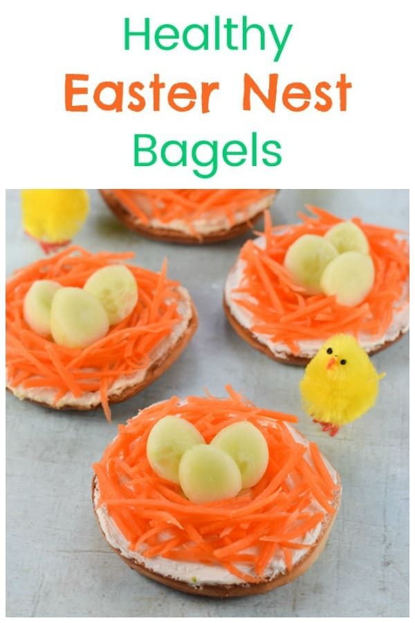 Quick and easy Easter nest bagels - a fun and healthy Easter food idea for kids #EatsAmazing #healthyeaster #easterfood #easterecipe #funfood #bagel #foodart #edibleart #kidsfood #healthykids #familyfood #sandwich #cutefood