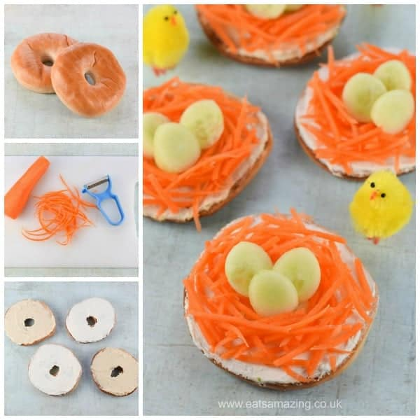 Quick and easy Easter nest bagels recipe - fun healthy Easter food idea for kids