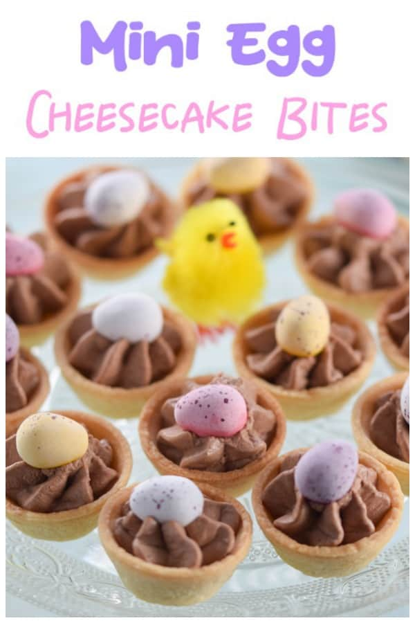 Quick and easy mini egg chocolate cheesecake bites recipe - fun Easter dessert the whole family will love #EatsAmazing #easter #easterrecipes #minieggs #cheesecake #chocolate #dessertrecipes #familyfood #easyrecipe #Easterfood #eastereggs #cookingwithkids #chocolaterecipes