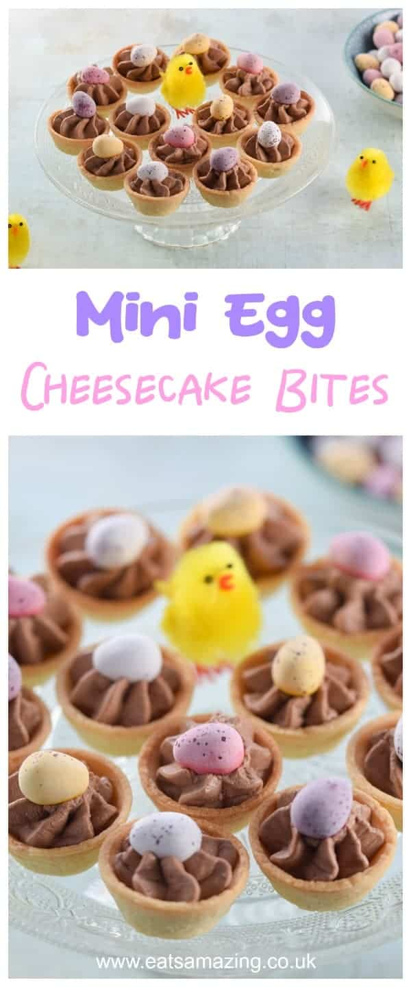 Quick and easy mini egg chocolate cheesecake bites recipe - fun and easy Easter dessert the whole family will love - Eats Amazing UK #easter #easterrecipes #minieggs #cheesecake #chocolate #dessertrecipes #familyfood #easyrecipe #Easterfood #eastereggs #cookingwithkids #chocolaterecipes