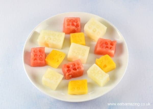 Easy Lego block fruit platter - fun healthy party food for kids - Eats Amazing UK