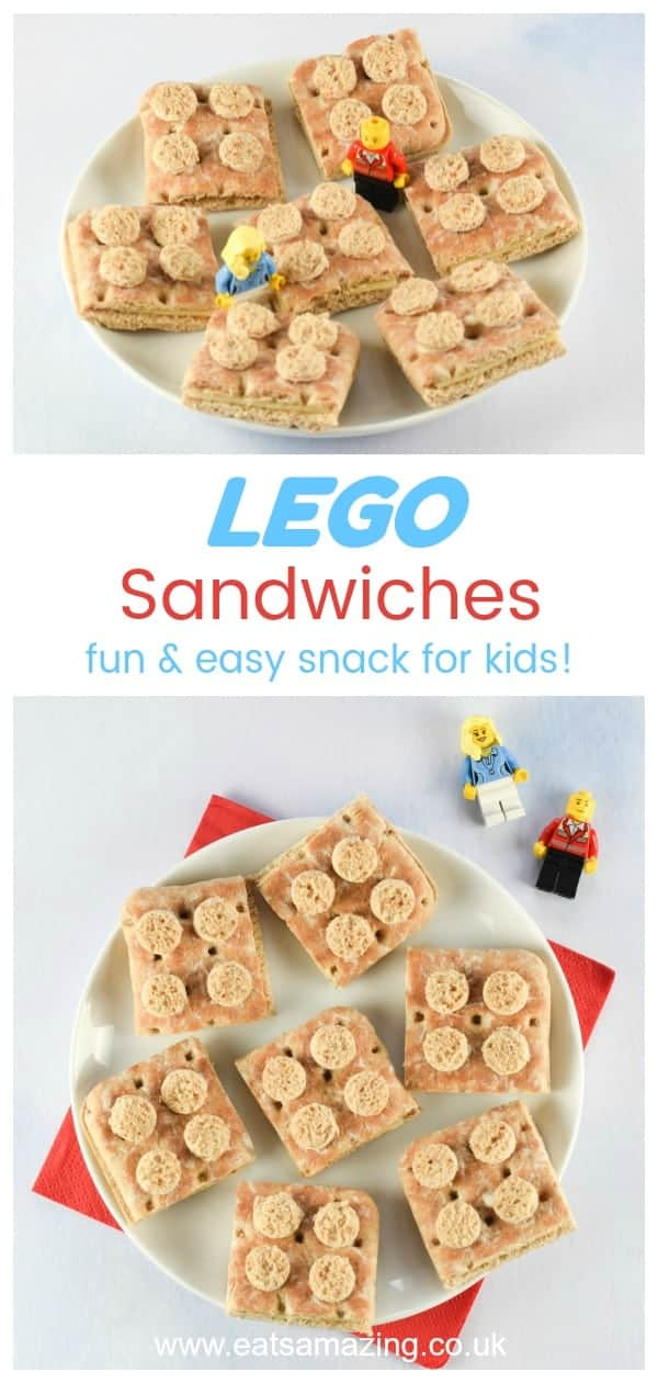 Fun and easy Lego sandwiches - perfect for LEGO themed healthy party food for kids - Eats Amazing UK #lego #partyfood #party #foodforkids #kidsfood #sandwich #foodart #edibleart #funfood #healthykids