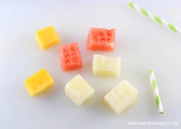 How to make easy Lego fruit blocks - fun healthy snack idea - great lego themed party food for kids - Eats Amazing UK